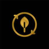 Bio gold plated metalic icon or logo vector