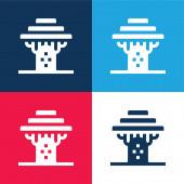 Baobab blau und rot vier Farben minimales Symbol-Set