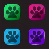 Animal Paw Nyomtatás four color glass button icon