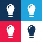 Černá žárovka modrá a červená čtyři barvy minimální sada ikon