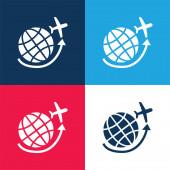 Flugzeug fliegt um die Erde Gitter blau und rot vier Farben minimalen Symbolsatz