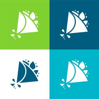 Bouquet Flat four color minimal icon set stock vector
