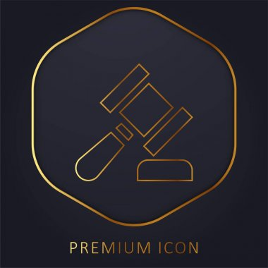Auction golden line premium logo or icon stock vector