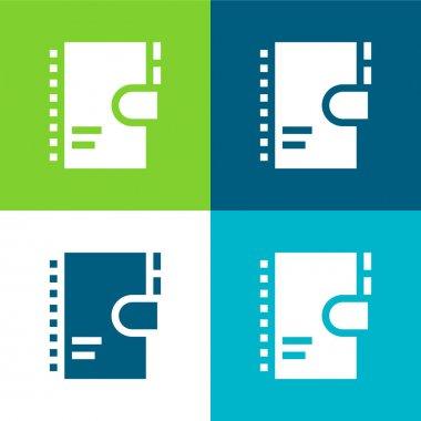 Agenda Flat four color minimal icon set stock vector