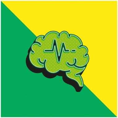 Brain Green and yellow modern 3d vector icon logo stock vector