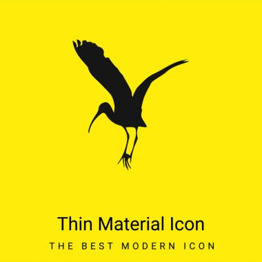 Bird Stork Shape minimal bright yellow material icon stock vector
