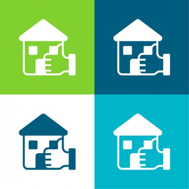 Best Choice Flat four color minimal icon set stock vector