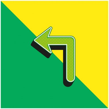 Arrow Of Large Size Turning To The Left Green and yellow modern 3d vector icon logo stock vector