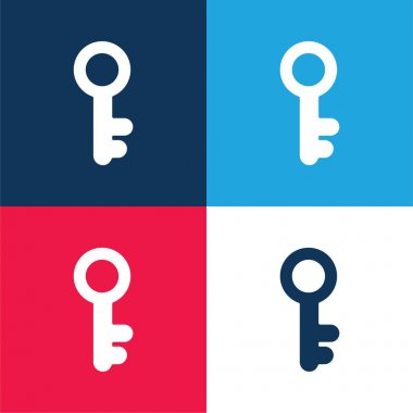 Antique Key blue and red four color minimal icon set stock vector