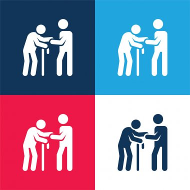 Assistance blue and red four color minimal icon set stock vector