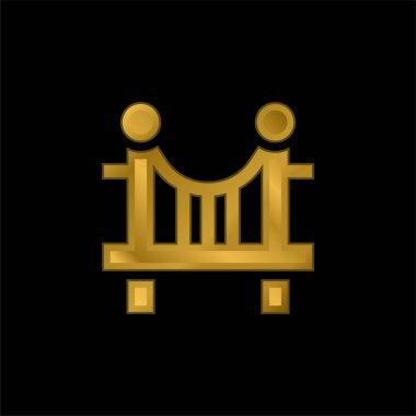 Bridge gold plated metalic icon or logo vector