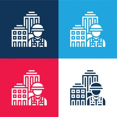 Architecture blue and red four color minimal icon set