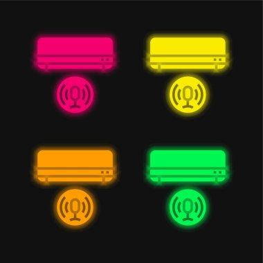 Klima Dört renk parlayan neon vektör simgesi