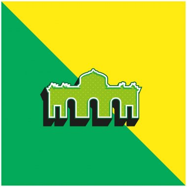 Alcala Gate Spain Green and yellow modern 3d vector icon logo