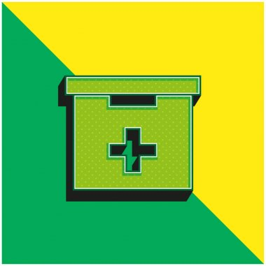Bathroom First Aid Kit Box Green and yellow modern 3d vector icon logo stock vector