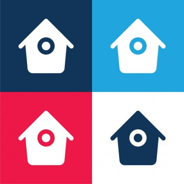 Bird House With Small Round Hole blue and red four color minimal icon set stock vector