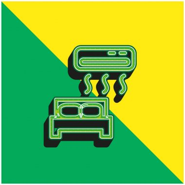 Air Conditioned Green and yellow modern 3d vector icon logo stock vector