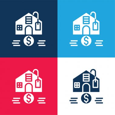 Affordable blue and red four color minimal icon set stock vector