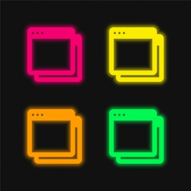 App four color glowing neon vector icon stock vector