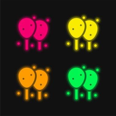Balloons four color glowing neon vector icon stock vector