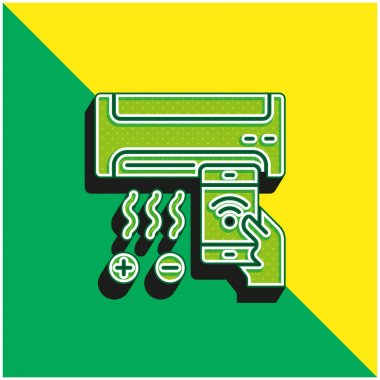 Air Conditioner Green and yellow modern 3d vector icon logo stock vector