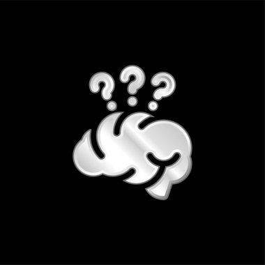 Brain silver plated metallic icon stock vector