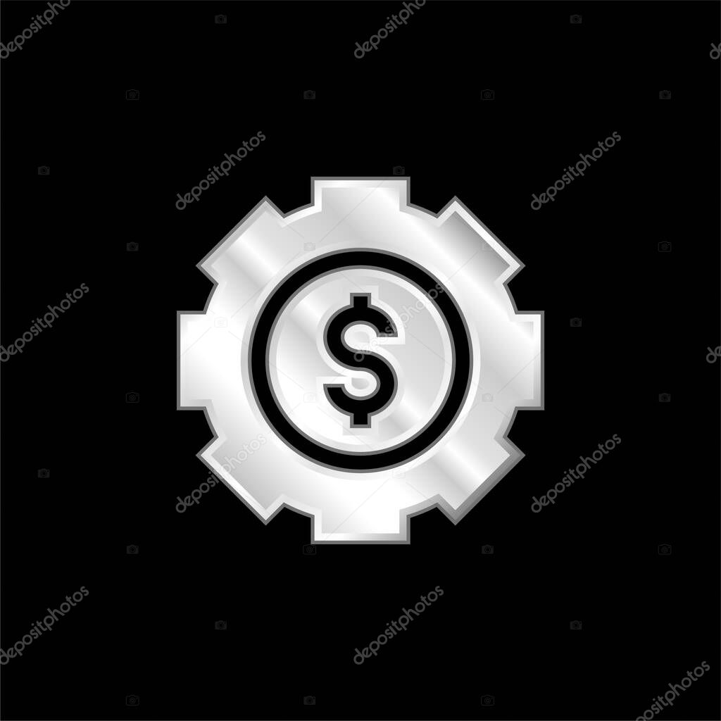 Asset Management silver plated metallic icon stock vector