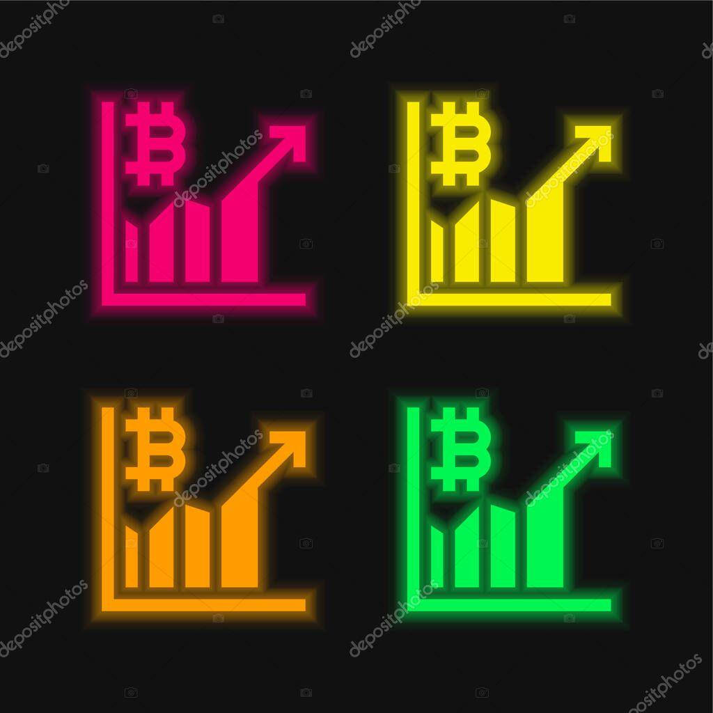 Bitcoin four color glowing neon vector icon stock vector