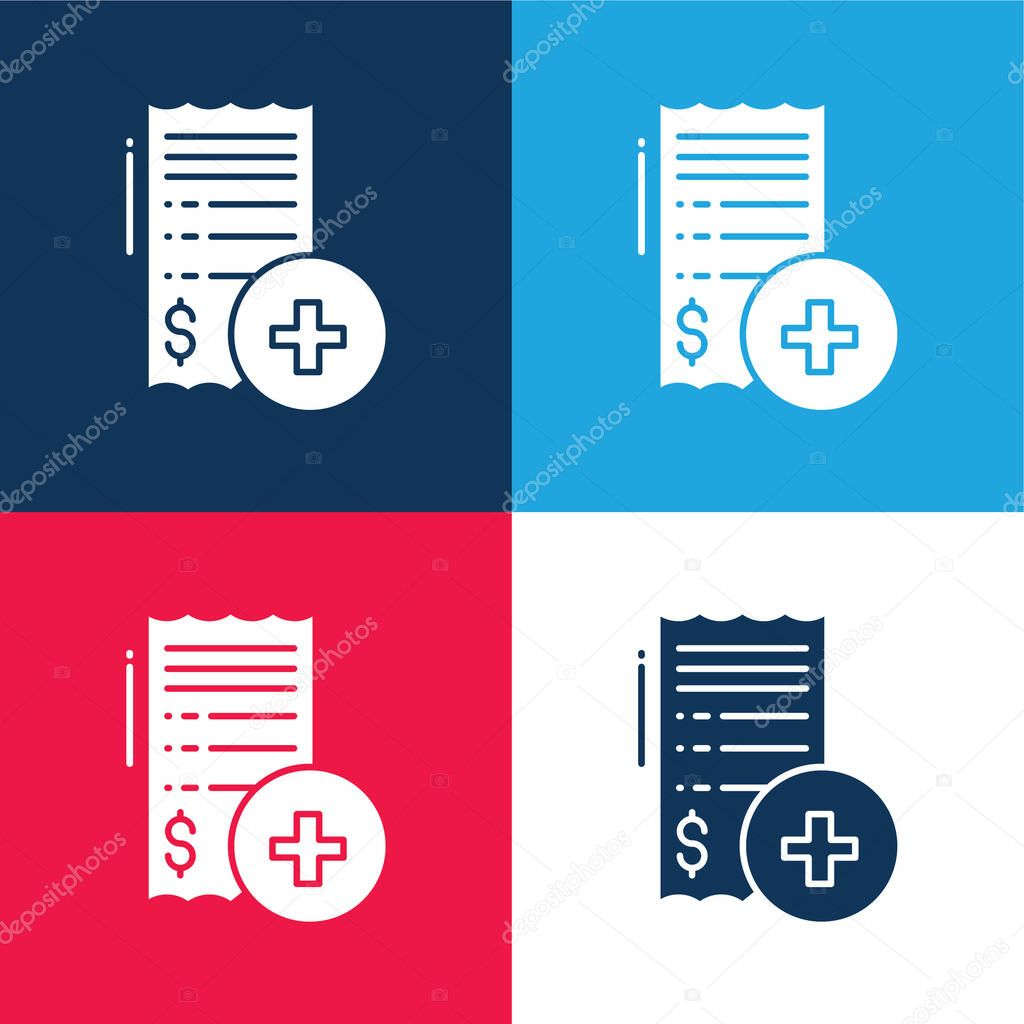 Bill blue and red four color minimal icon set stock vector