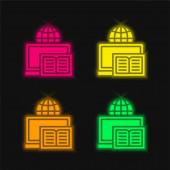 Könyv négy szín izzó neon vektor ikon