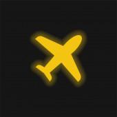 Ikona žlutého zářícího neonu letadla