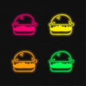 Chléb čtyři barvy zářící neonový vektor ikona