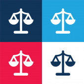 Balance blue and red four color minimal icon set
