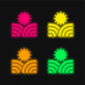 Landwirtschaft vier Farben leuchtenden Neon-Vektor-Symbol