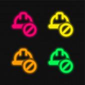 Leuchtende Neon-Vektorsymbole in vier Farben verboten