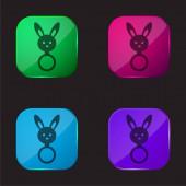 Baby chrastítko s králíčkem hlava tvar čtyři barvy skleněné tlačítko ikona
