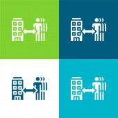 B2b Lapos négy szín minimális ikon készlet