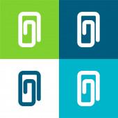 Připojení Paperclip Symbol rovných čar se zaoblenými úhly Plocha čtyři barevné minimální ikony