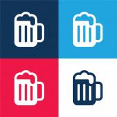 Sörkék és piros négy szín minimális ikon készlet