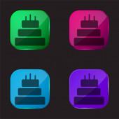Narozeninový dort ze tří dortů čtyři barevné skleněné tlačítko ikona