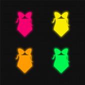 Bikini One Piece Bademode vier Farben leuchtende Neon-Vektor-Symbol