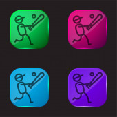Baseballspieler vier farbige Glasknopf-Symbol