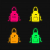Apron four color glowing neon vector icon