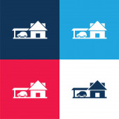 Big House With Car Garage blue and red four color minimal icon set