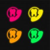 Ernennung vier Farbe leuchtenden Neon-Vektor-Symbol