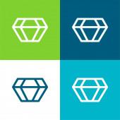Big Diamond Flat négy szín minimális ikon készlet