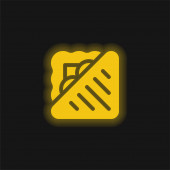 Bread yellow glowing neon icon