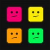 Nuda čtyři barvy zářící neonový vektor ikona