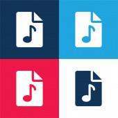 Audio File kék és piros négy szín minimális ikon készlet