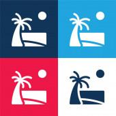 Strand kék és piros négy szín minimális ikon készlet